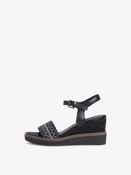 Tamaris Ledersandalette Damen Sandale mit Absatz modisch schwarz NEU - Bild 1