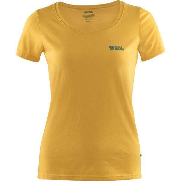 Fjällräven Logo T-Shirt Damen T-Shirt Bio Baumwolle Freizeit senfgelb NEU - Bild 1
