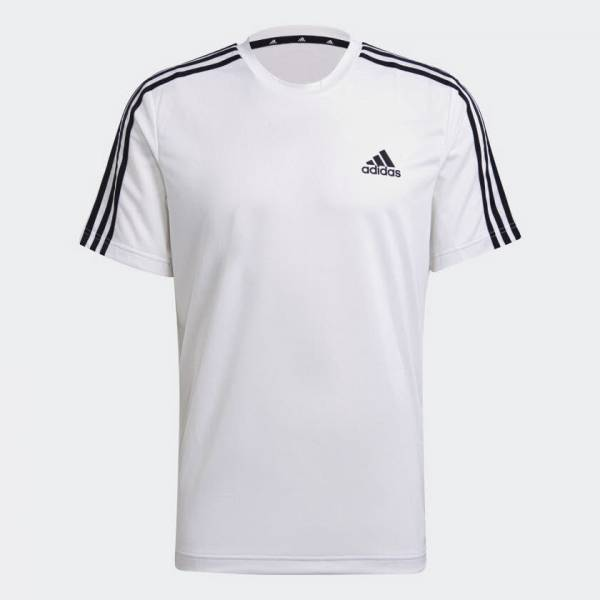 adidas Aeroready Sport 3-Streifen Funktionsshirt Sport Herren weiß NEU - Bild 1