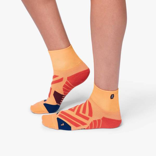 ON Mid Sock Damen Laufsocken Running coral | navy NEU - Bild 1