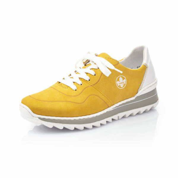 Rieker Schnürschuhe Damen Halbschuhe Sneaker Turnschuhe modisch Freizeit gelb NEU - Bild 1