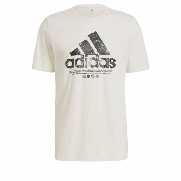 Adidas Recycled Logo T-shirt sportlich Outdoor Herren weiß NEU - Bild 1