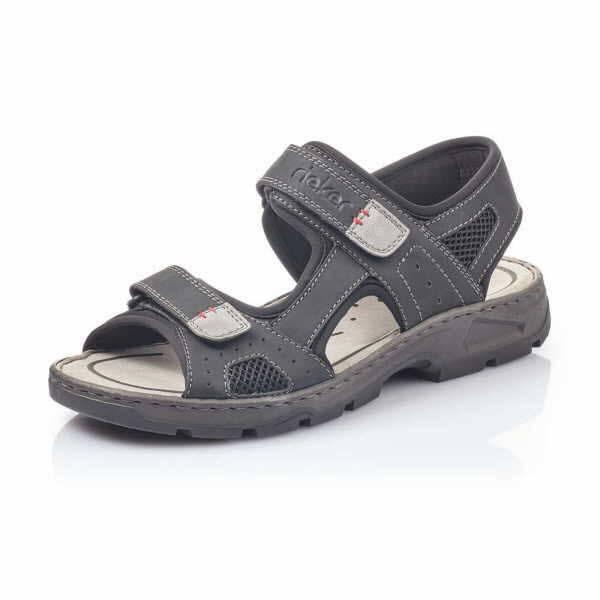 Rieker Sandale Herren Sommerschuhe Klettverschluss modisch Freizeit schwarz NEU - Bild 1