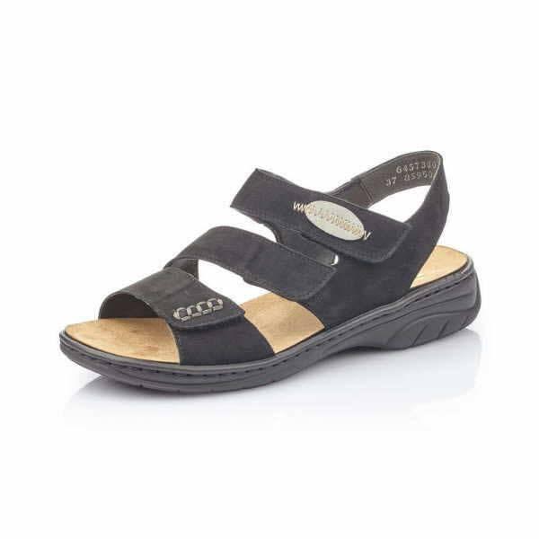 Rieker Sandaletten Damen Sandale Pantolette modisch Freizeit schwarz NEU - Bild 1