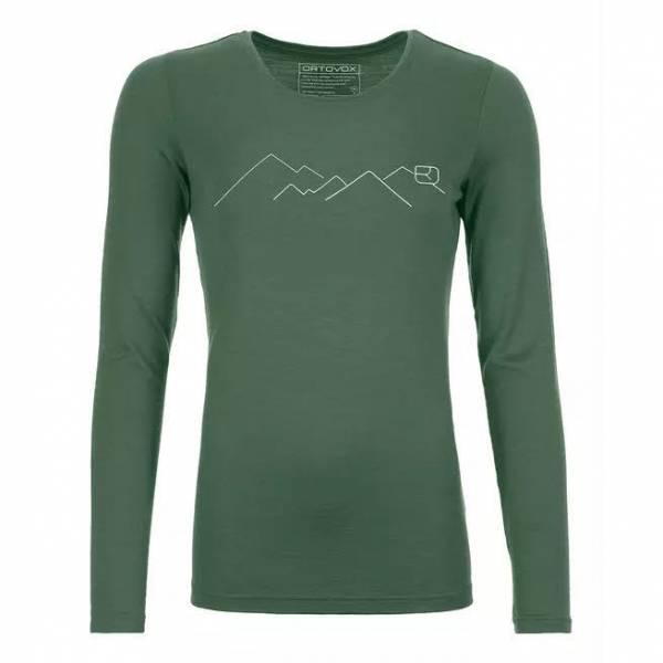 ORTOVOX 185 Merino Contrast Long Sleeve Damen Funktion Langarmshirt grün NEU
