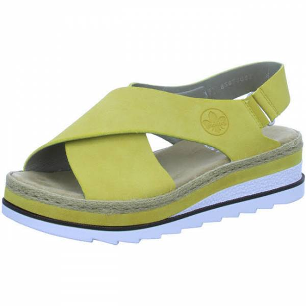 Rieker Sandale mit Plateau Klettverschluss gelb Damen NEU - Bild 1