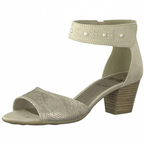 Jana Sandale Damen Sandalette mit hohem Absatz elegant modisch beige NEU
