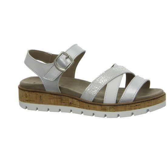 Longo Pantolette Damen Sandale Sandalette Sommerschuhe Freizeit silber/weiß NEU - Bild 1