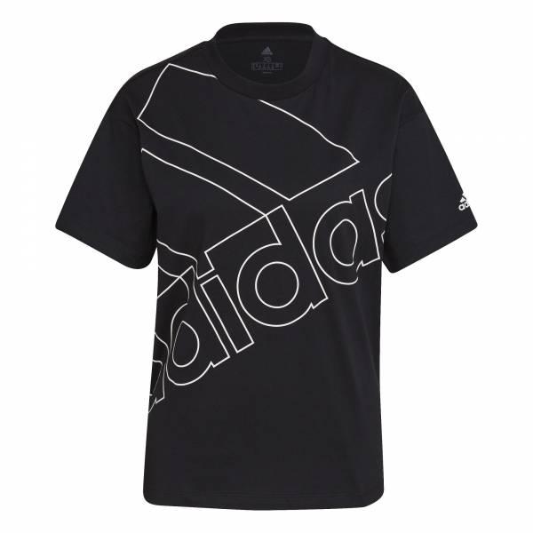adidas Giant Logo T-Shirt Freizeit Sport Fitness Damen schwarz NEU - Bild 1