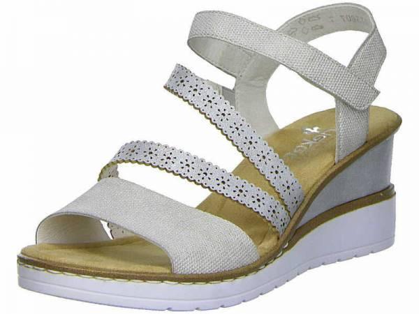 Rieker Sandalette Damen Freizeitschuh Sandalen Absatz elegant modisch beige NEU