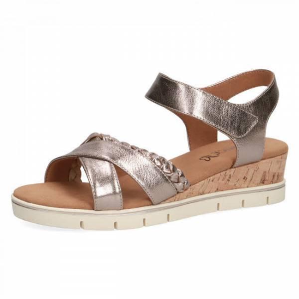 Caprice Keilsandale Sandale mit modischem Absatz Bronze Metallic Damen NEU