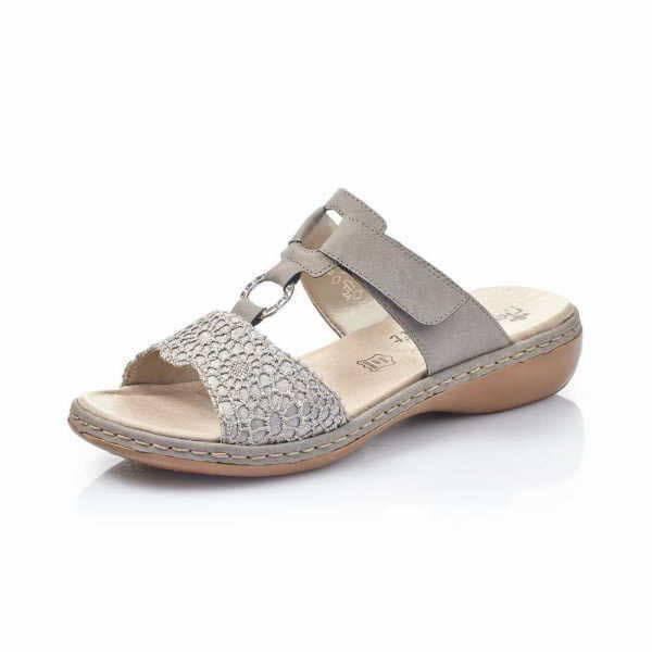 Rieker Pantolette Damen Sandale Sommerschuhe modisch elegant Freizeit grau  NEU - Bild 1