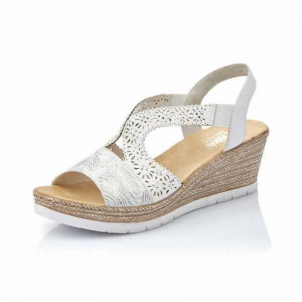 Rieker Sandalette Damen Freizeitschuh Sandalen elegant modisch weiss-silber NEU