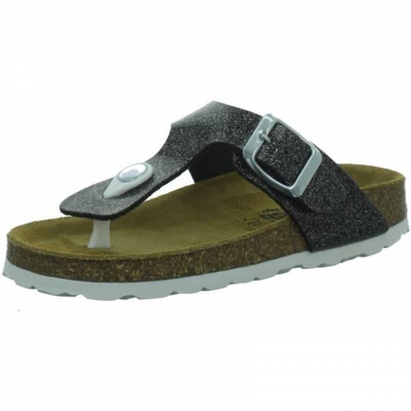 Longo Flip Flop Damen Hausschuhe Zehentrenner Sandalette schwarz/silber NEU - Bild 1