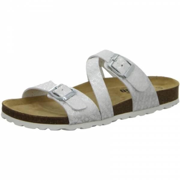 Longo Damen Pantolette Sandale Sandalette Freizeit modisch weiß/silber NEU - Bild 1