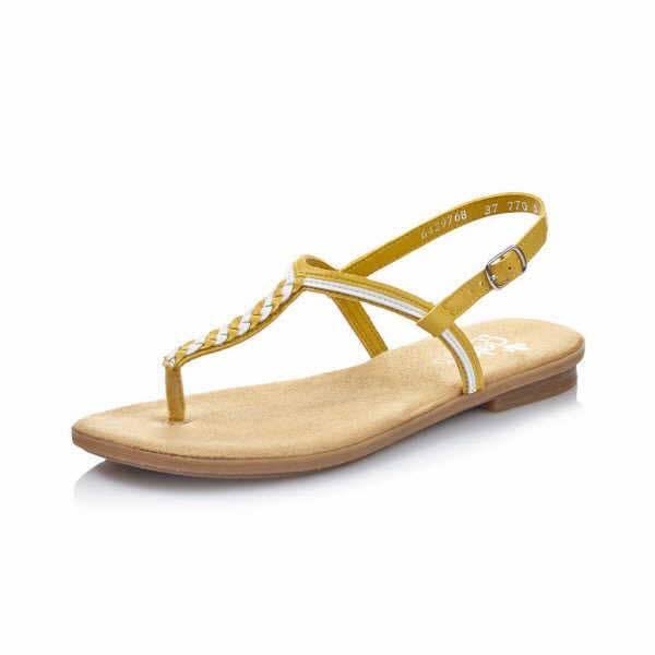 Rieker Sandaletten Damen Sommerschuhe Flip Flop modisch Freizeit gelb NEU - Bild 1