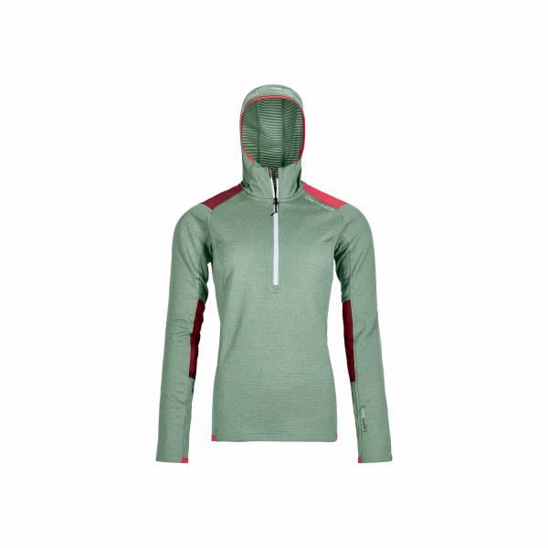 Ortovox Fleece Light Grid Zip Neck Hoody Pullover Outdoor Damen grün NEU