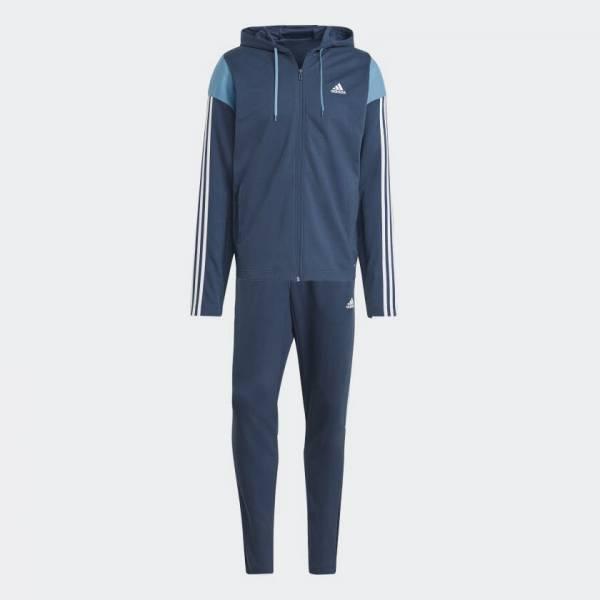 Adidas Sportswear Ribbed Trainingsanzug sportlich Outdoor Herren blau NEU - Bild 1