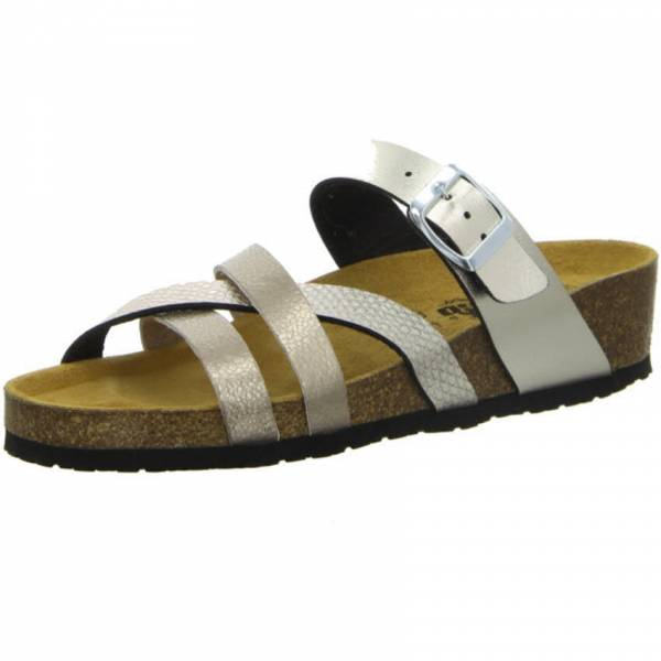 Longo Pantolette Damen Sandale Sandalette modisch Sommerschuhe Freizeit gold NEU - Bild 1