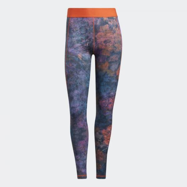 adidas Techfit Mid-Rise Floral Tight Leggings Sport Fitness Damen bunt NEU - Bild 1