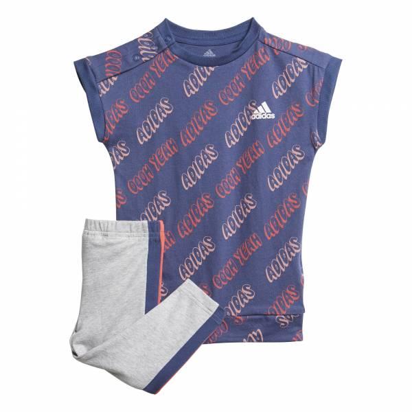 adidas Tight Set Mädchen T-Shirt + Hose Fitness Freizeit blau grau NEU - Bild 1