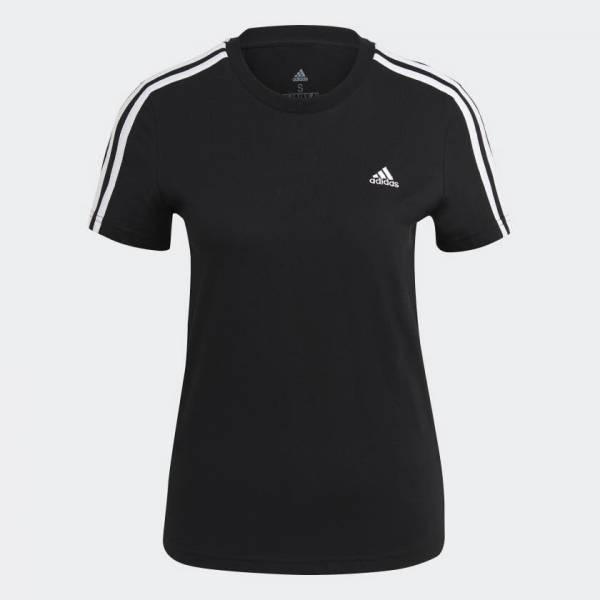 adidas Essentials Slim 3-Streifen T-Shirt Freizeit Sport Damen schwarz NEU - Bild 1