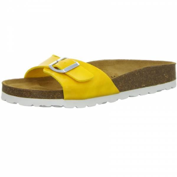 Longo Pantolette Damen Hausschuhe Sandale Freizeit Slipper Lackschuhe gelb NEU - Bild 1