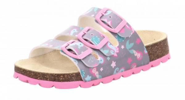 Superfit Sandale Kinder Sandalette Hausschuh Tieffussbett Pantoffel grau NEU