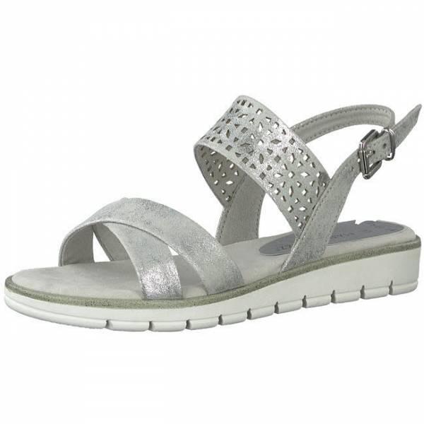 Marco Tozzi Sandale Damen Sommerschuhe modisch elegant Freizeit silber NEU