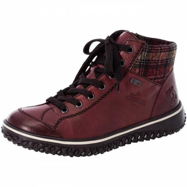 Rieker Stiefelette Sneaker mit Warmfutter Reißverschluss Damen rot NEU