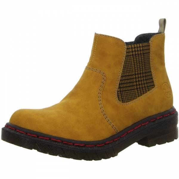 Rieker Stiefelette Biker Boots Reißverschluss Damen gelb NEU