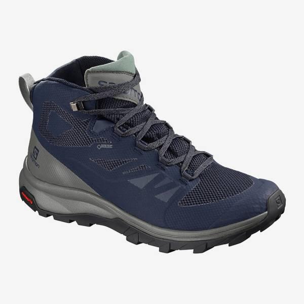 Salomon Outline GTX Herren Trekkingschuhe Wasserdicht Outdoor Freizeit blau  NEU - Bild 1