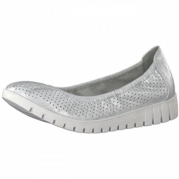 Tamaris Silver Struct. Keilballerina Ballerina Damen Mode Schlupfschuhe Schuhe NEU