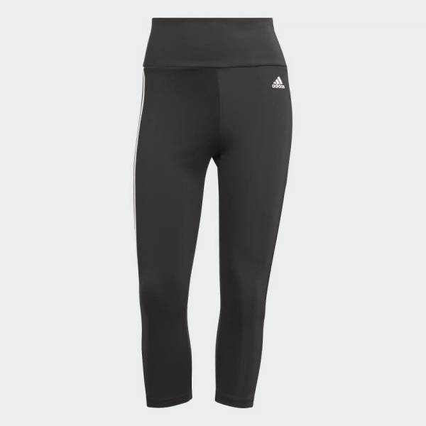 adidas High Rise 3-Streifen Sport 3/4-Tight Sporthose Damen schwarz NEU - Bild 1
