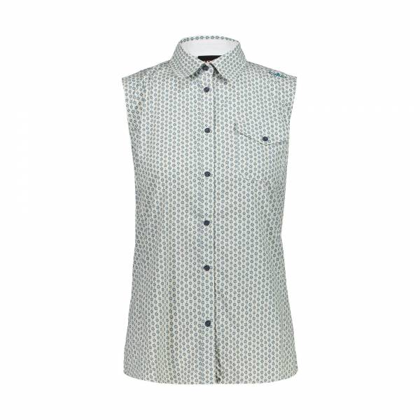 CMP Shirt Damen Bluse ärmellos Outdoor Freizeit weiß blau NEU