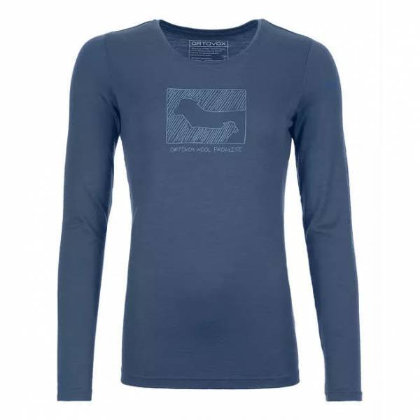 ORTOVOX 185 Merino Contrast Long Sleeve Damen Funktion Langarmshirt blau NEU